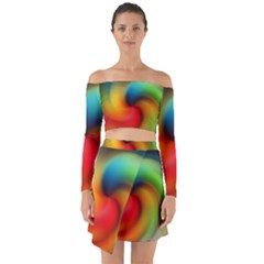 Abstract Spiral Art Creativity Off Shoulder Top With Skirt Set