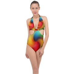 Abstract Spiral Art Creativity Halter Front Plunge Swimsuit