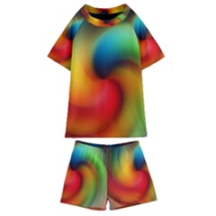 Abstract Spiral Art Creativity Kids  Swim Tee And Shorts Set