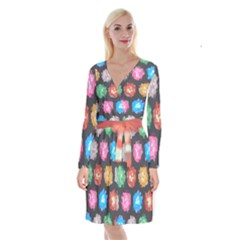 Background Colorful Abstract Long Sleeve Velvet Front Wrap Dress