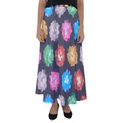 Background Colorful Abstract Flared Maxi Skirt