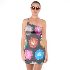 Background Colorful Abstract One Soulder Bodycon Dress by Nexatart