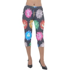 Background Colorful Abstract Lightweight Velour Capri Leggings