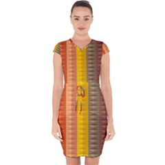 Abstract Pattern Background Capsleeve Drawstring Dress