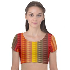 Abstract Pattern Background Velvet Short Sleeve Crop Top