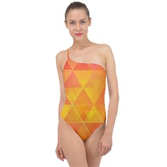 Background Colorful Abstract Classic One Shoulder Swimsuit