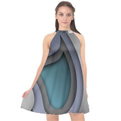 Abstract Background Abstraction Halter Neckline Chiffon Dress