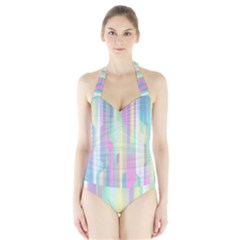Background Abstract Pastels Halter Swimsuit