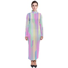 Background Abstract Pastels Turtleneck Maxi Dress