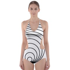 Spiral Eddy Route Symbol Bent Cut Out One Piece Swimsuit