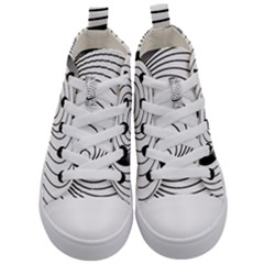 Spiral Eddy Route Symbol Bent Kid s Mid Top Canvas Sneakers