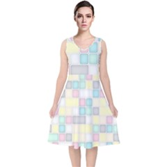 Background Abstract Pastels Square V Neck Midi Sleeveless Dress