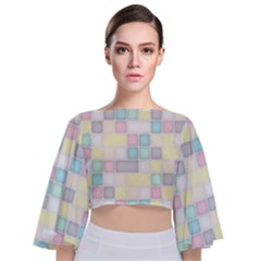 Background Abstract Pastels Square Tie Back Butterfly Sleeve Chiffon Top