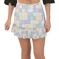 Background Abstract Pastels Square Fishtail Mini Chiffon Skirt