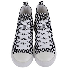 Triangle Pattern Simple Triangular Women s Mid Top Canvas Sneakers