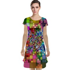 Abstract Squares Arrangement Cap Sleeve Nightdress