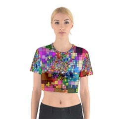 Abstract Squares Arrangement Cotton Crop Top