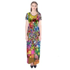 Abstract Squares Arrangement Short Sleeve Maxi Dress