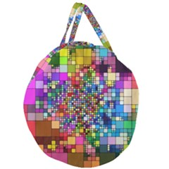 Abstract Squares Arrangement Giant Round Zipper Tote