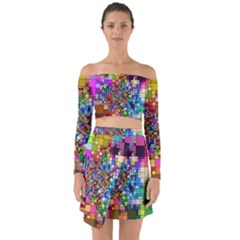 Abstract Squares Arrangement Off Shoulder Top With Skirt Set