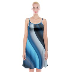Abstract Pattern Lines Wave Spaghetti Strap Velvet Dress
