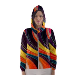 Abstract Colorful Background Wavy Hooded Windbreaker (women)