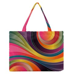 Abstract Colorful Background Wavy Zipper Medium Tote Bag
