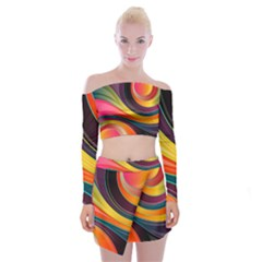 Abstract Colorful Background Wavy Off Shoulder Top With Mini Skirt Set