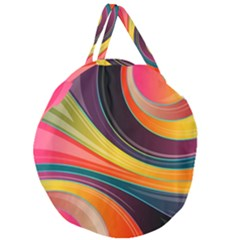 Abstract Colorful Background Wavy Giant Round Zipper Tote