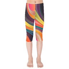 Abstract Colorful Background Wavy Kids  Capri Leggings