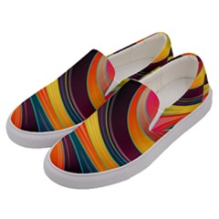 Abstract Colorful Background Wavy Men s Canvas Slip Ons by Nexatart