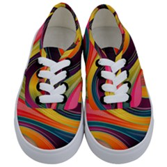 Abstract Colorful Background Wavy Kids  Classic Low Top Sneakers