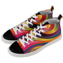 Abstract Colorful Background Wavy Men s Mid Top Canvas Sneakers by Nexatart