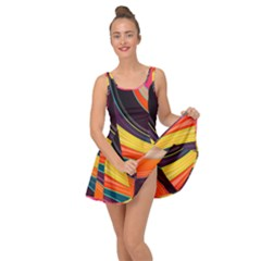 Abstract Colorful Background Wavy Inside Out Casual Dress