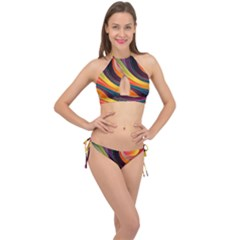 Abstract Colorful Background Wavy Cross Front Halter Bikini Set