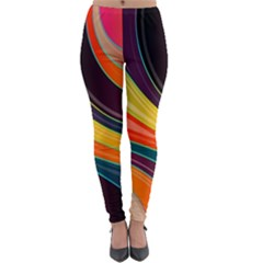 Abstract Colorful Background Wavy Lightweight Velour Leggings