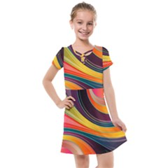 Abstract Colorful Background Wavy Kids  Cross Web Dress