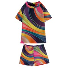 Abstract Colorful Background Wavy Kids  Swim Tee And Shorts Set