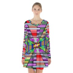 Art Vanishing Point Vortex 3d Long Sleeve Velvet V Neck Dress