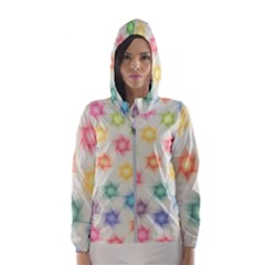Polygon Geometric Background Star Hooded Windbreaker (women)