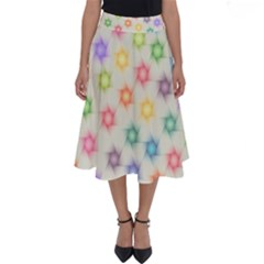Polygon Geometric Background Star Perfect Length Midi Skirt by Nexatart