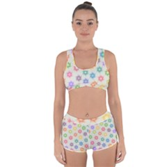 Polygon Geometric Background Star Racerback Boyleg Bikini Set