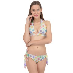 Polygon Geometric Background Star Tie It Up Bikini Set
