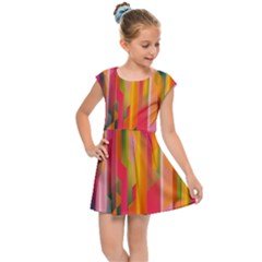 Background Abstract Colorful Kids Cap Sleeve Dress by Nexatart