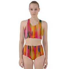 Background Abstract Colorful Racer Back Bikini Set by Nexatart