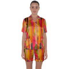Background Abstract Colorful Satin Short Sleeve Pyjamas Set