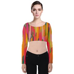 Background Abstract Colorful Velvet Crop Top