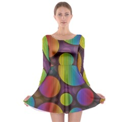 Background Colorful Abstract Circle Long Sleeve Skater Dress