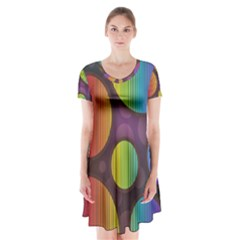 Background Colorful Abstract Circle Short Sleeve V Neck Flare Dress