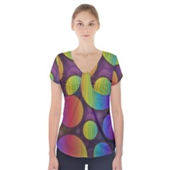 Background Colorful Abstract Circle Short Sleeve Front Detail Top